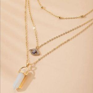 New Geometric Stone & Eye Layered Necklace